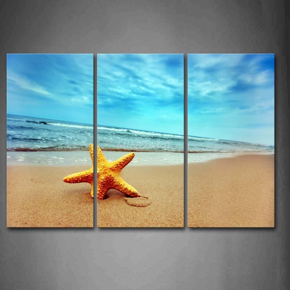 3 Piece Wall Art Painting Yellow Starfish On Beach Print On Canvas within 3 Piece Beach Wall Art
