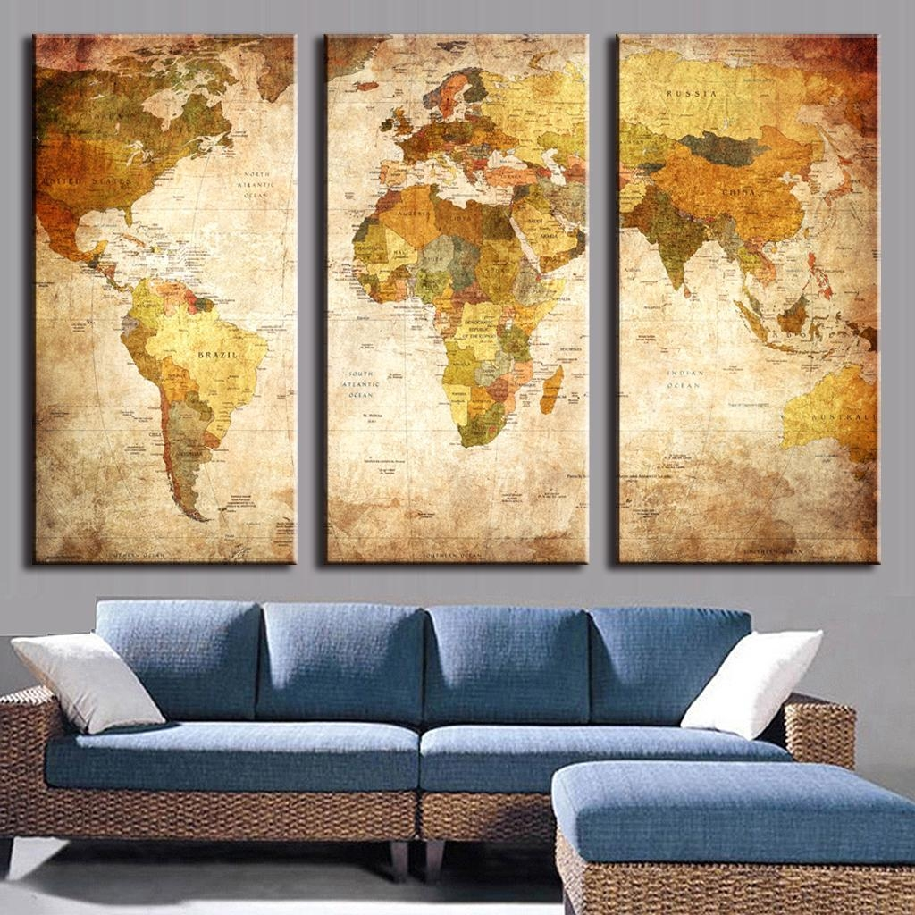 3 Piece Wall Art Pictures. Large Vintage World Map 3 Panel Wall with regard to 3-Pc Canvas Wall Art Sets