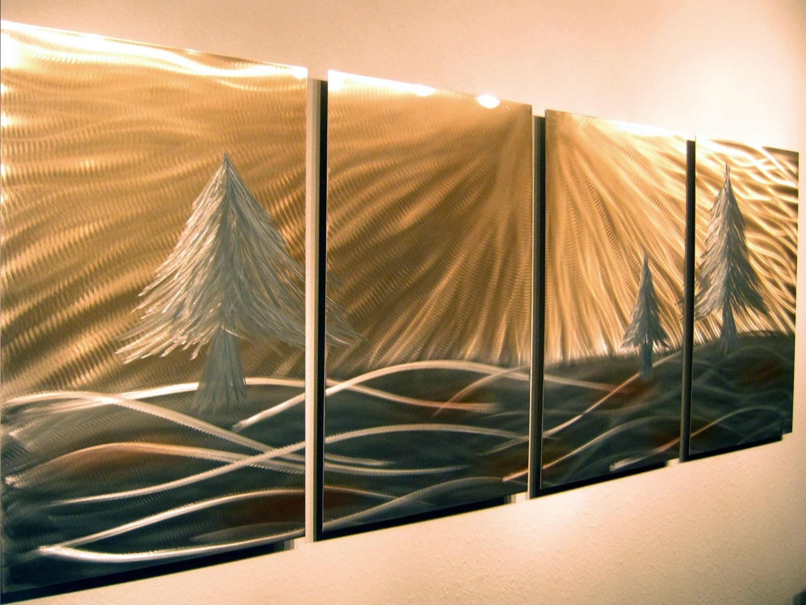 3 Pine Trees – Abstract Metal Wall Art Contemporary Modern Decor Inside Pine Tree Metal Wall Art (View 13 of 20)