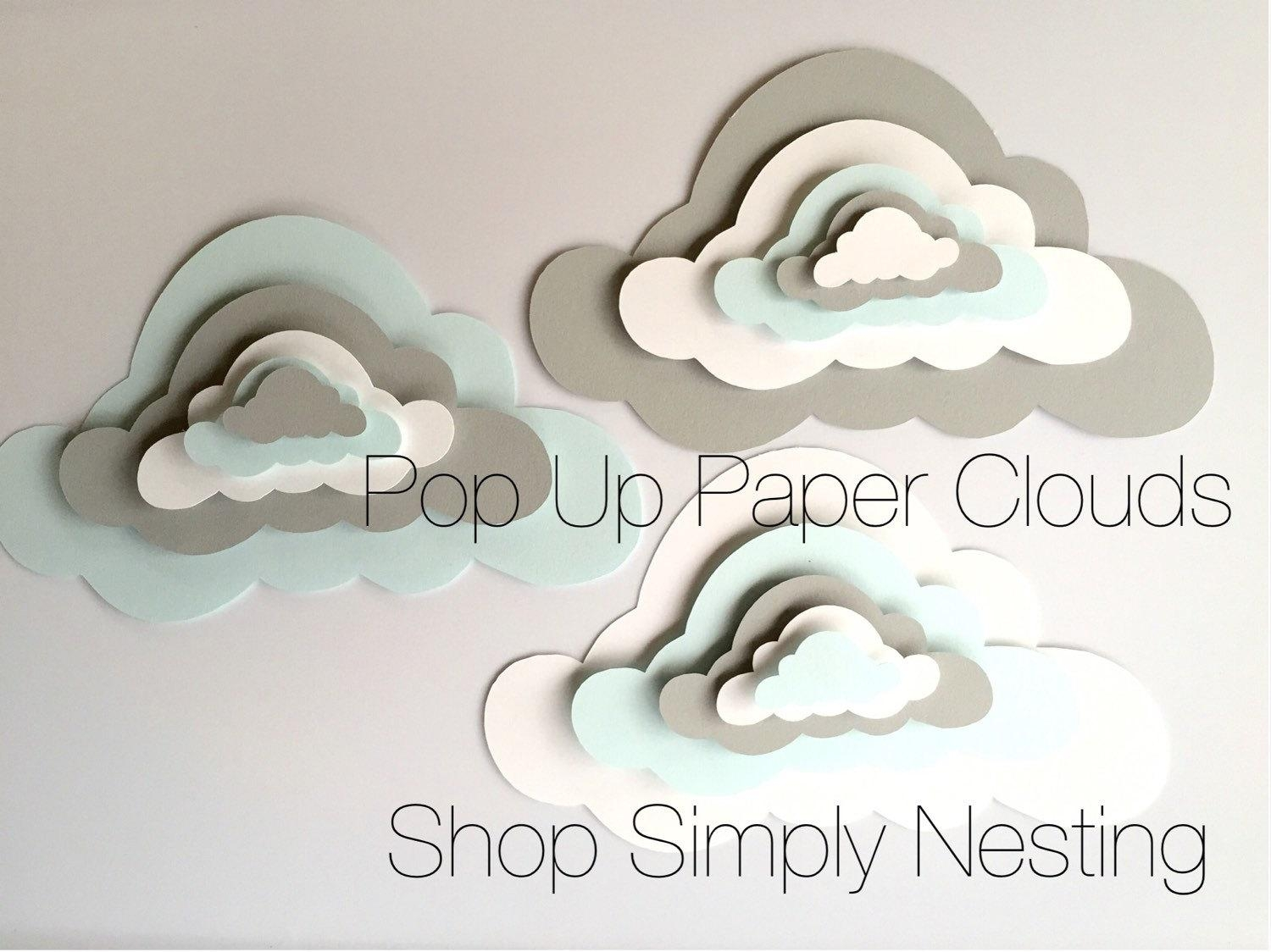 3 Pop Up Paper Clouds Cloud Wall Art 3 3D Paper Clouds Regarding 3D Clouds Out Of Paper Wall Art (Image 2 of 20)