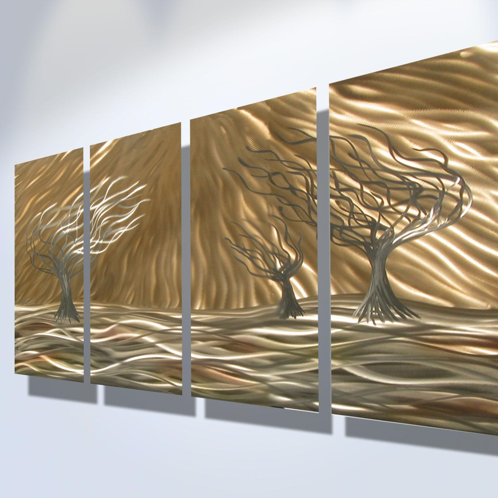3 Trees 4 Panel – Abstract Metal Wall Art Contemporary Modern Pertaining To Metal Abstract Wall Art (View 10 of 20)