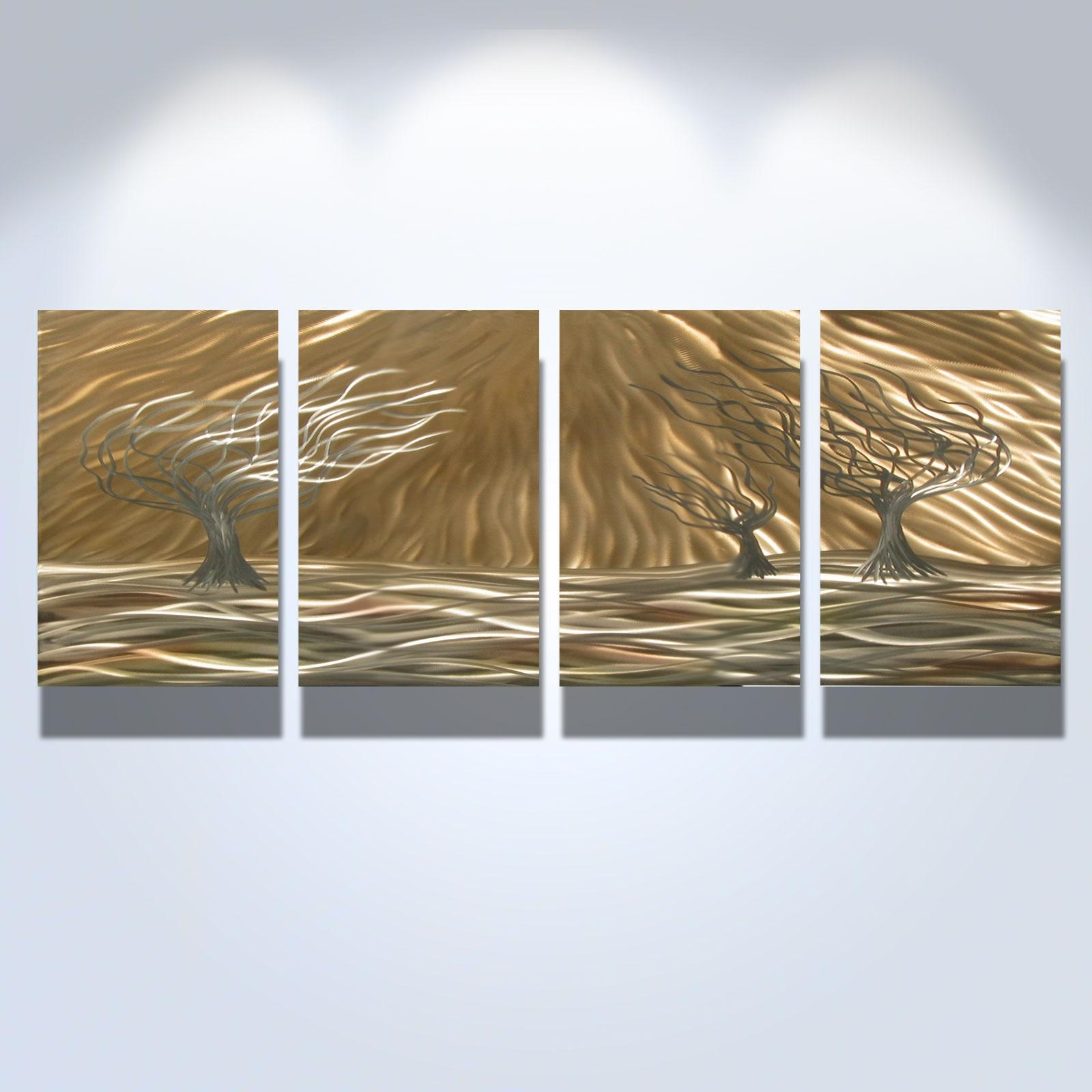 3 Trees 4 Panel – Abstract Metal Wall Art Contemporary Modern With Three Panel Wall Art (Image 6 of 20)