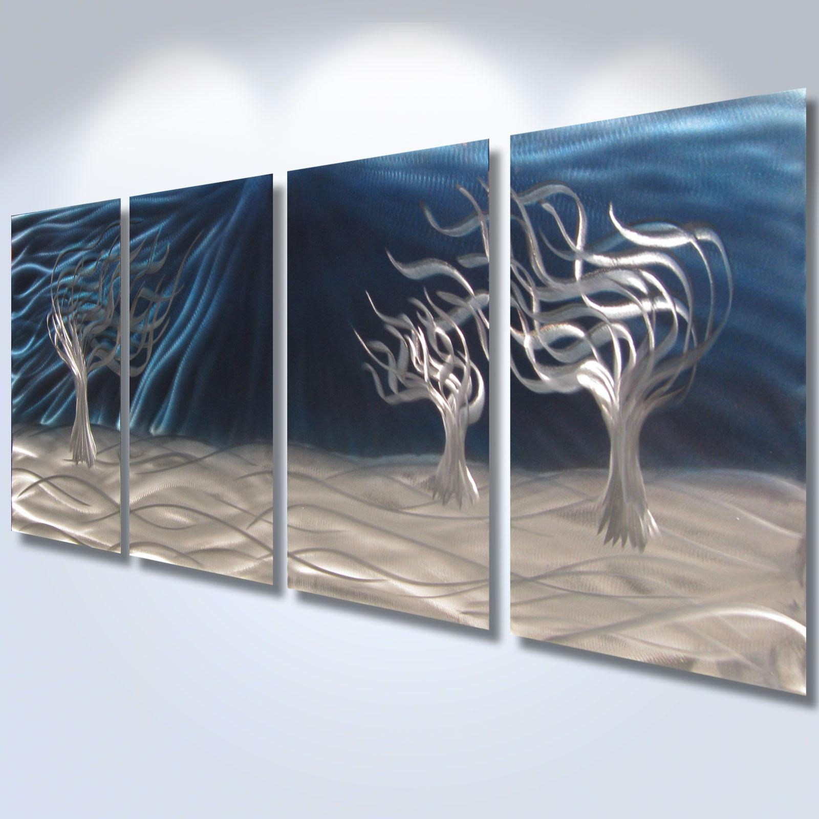3 Trees Blue – Abstract Metal Wall Art Contemporary Modern Decor With Metal Tree Wall Art Sculpture (View 15 of 20)