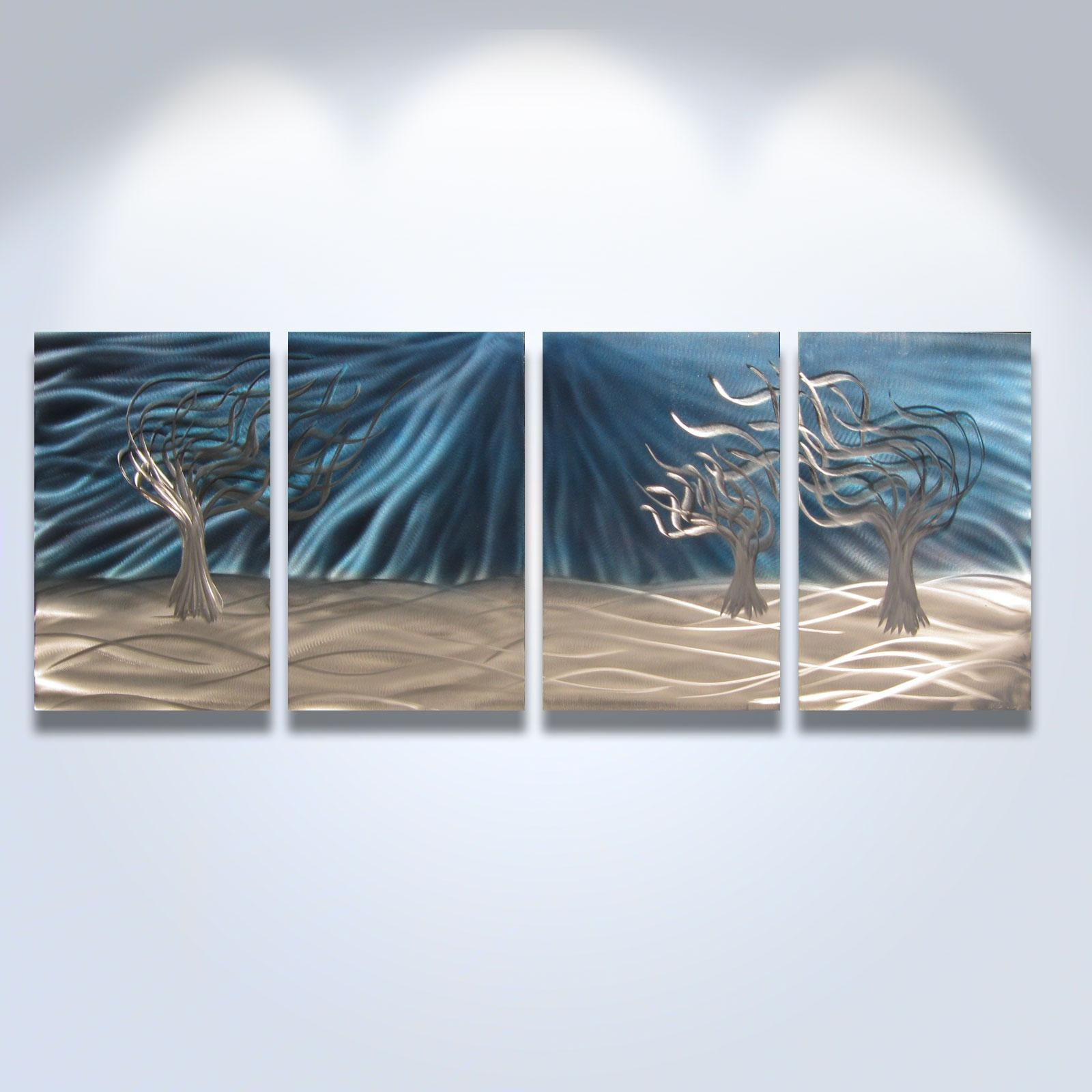 3 Trees Blue - Abstract Metal Wall Art Contemporary Modern Decor with regard to Blue And Silver Wall Art