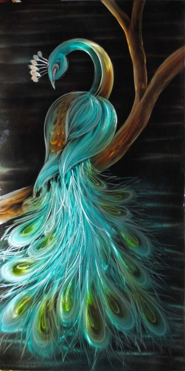 301 Best Peacock Images On Pinterest | Peacock Art, Peacock Colors Throughout Peacock Metal Wall Art (Image 2 of 20)