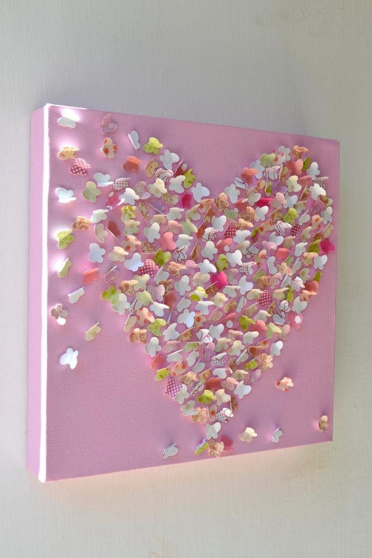 31 Best Butterfly Wall Art Images On Pinterest | Butterfly Wall Pertaining To Pink Butterfly Wall Art (Image 2 of 20)