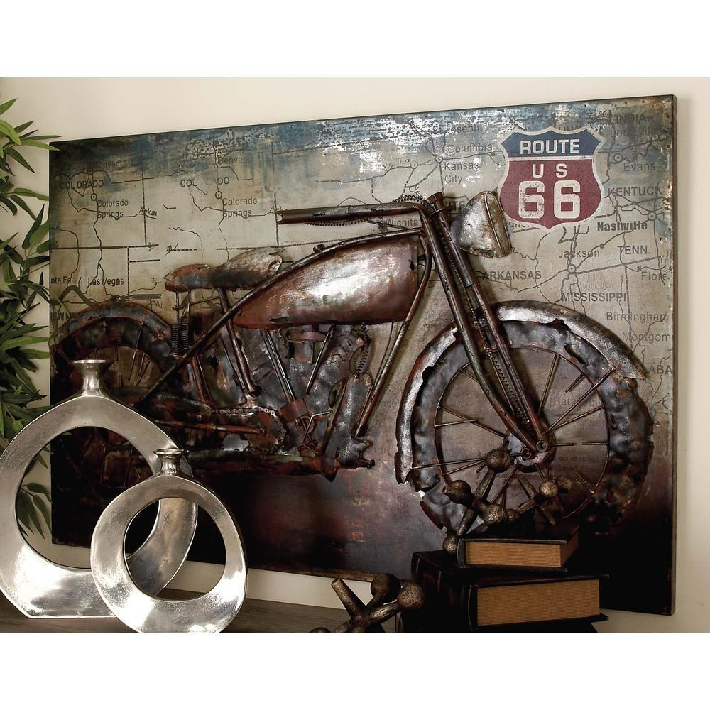 32 In. X 47 In. Vintage 3D Iron Motorcycle And Map Wall Art-38571 in Us Map Wall Art