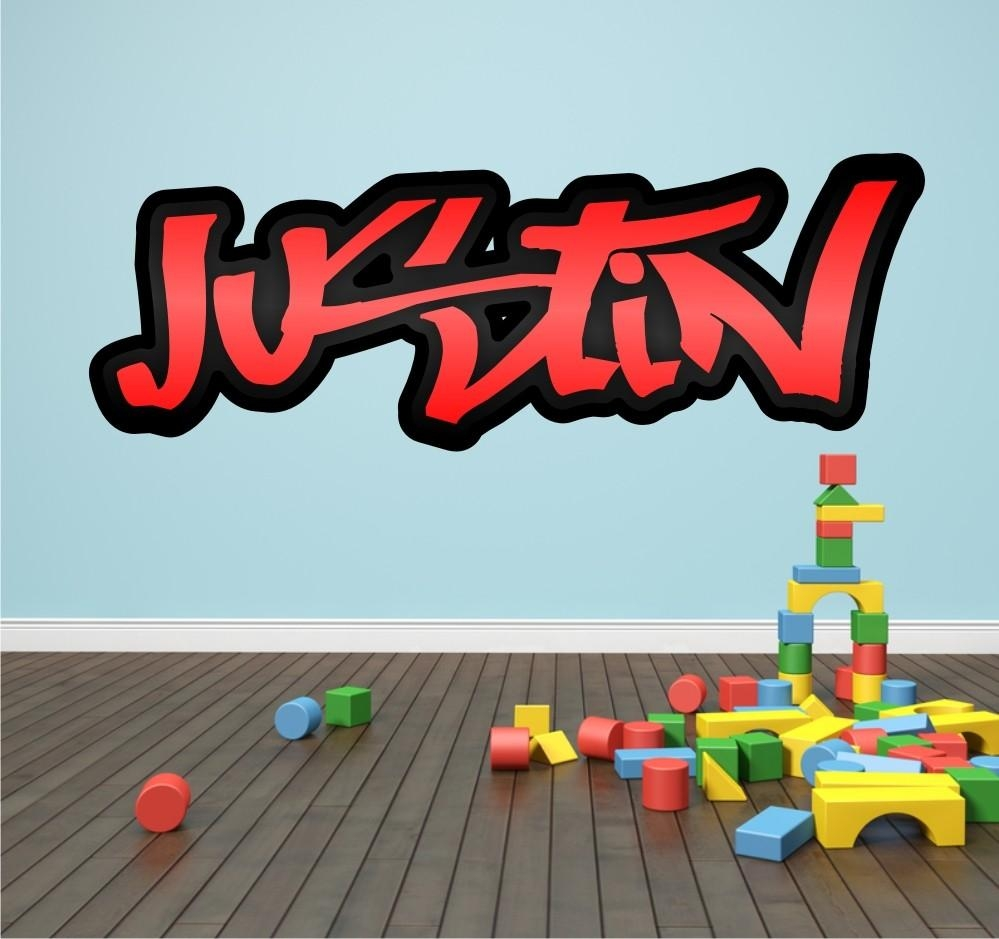 33 Graffiti Wall Decals, Personalised Graffiti Name Cracked 3D Pertaining To Personalized Graffiti Wall Art (View 11 of 20)