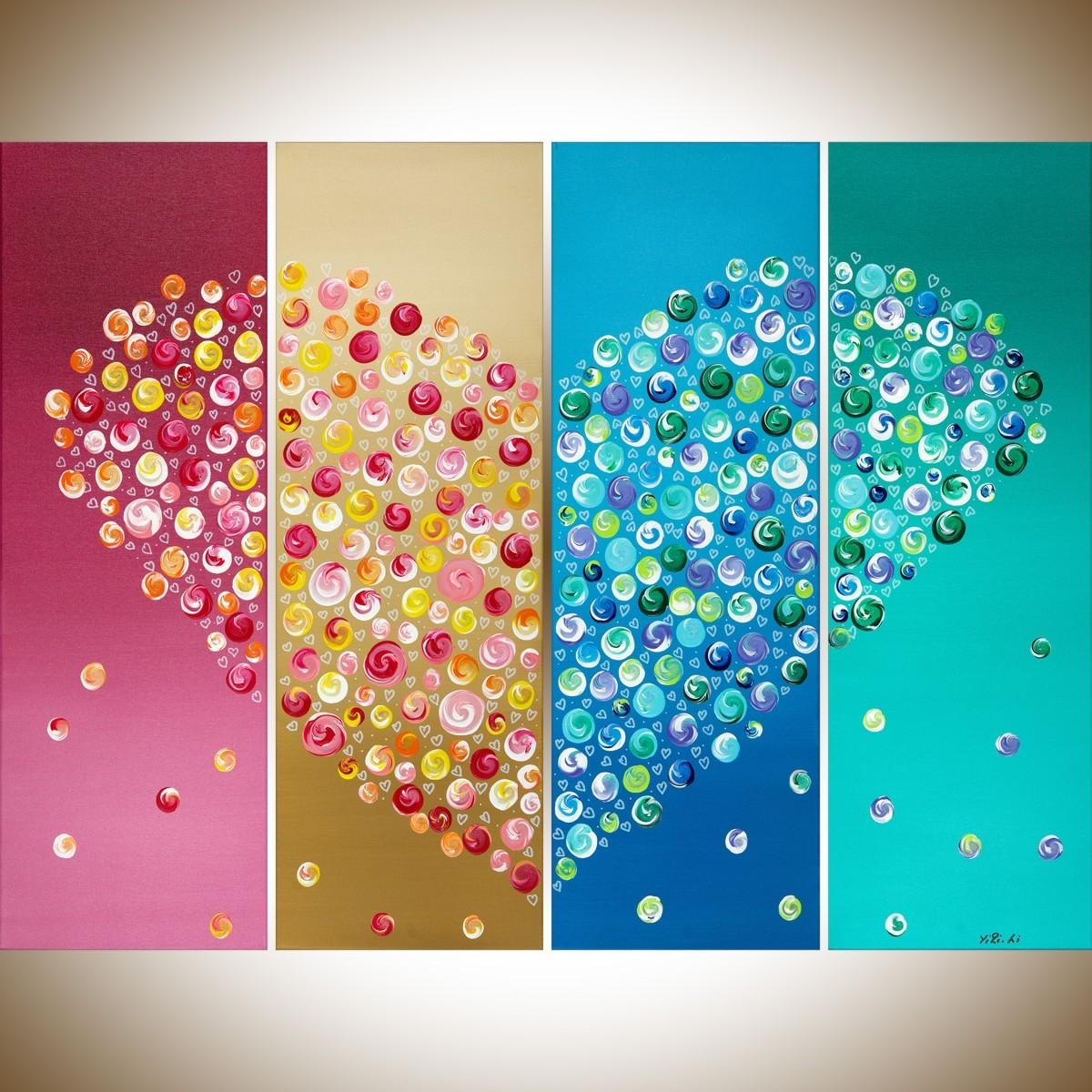 """365 Days Of Loveqiqigallery 40"""" X 30"""" Colorful Abstract Heart inside Yellow And Green Wall Art"""