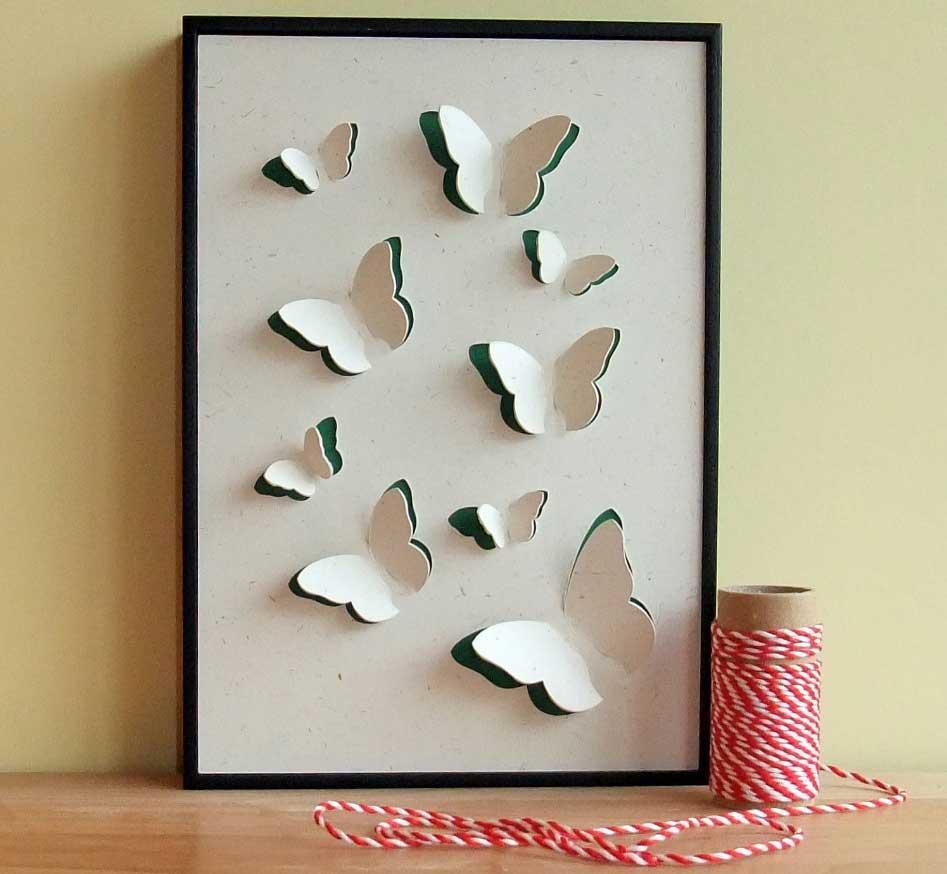 3D Butterfly Framed Wall Art Hand Cut | Home Interior & Exterior Throughout Butterflies  3D Wall