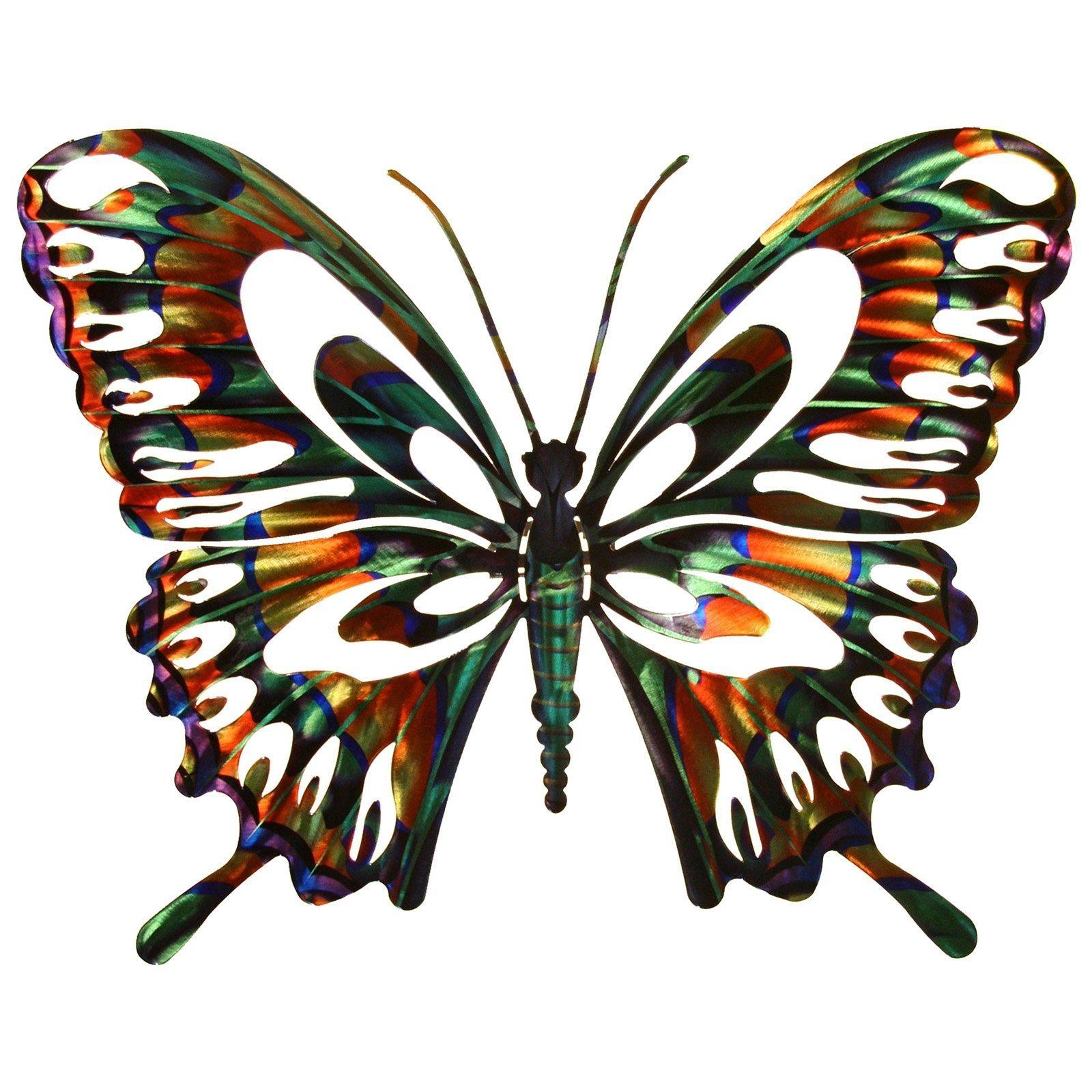 3D Butterfly Metal Outdoor Wall Art | Hayneedle Regarding Large Metal Butterfly Wall Art (Image 1 of 20)