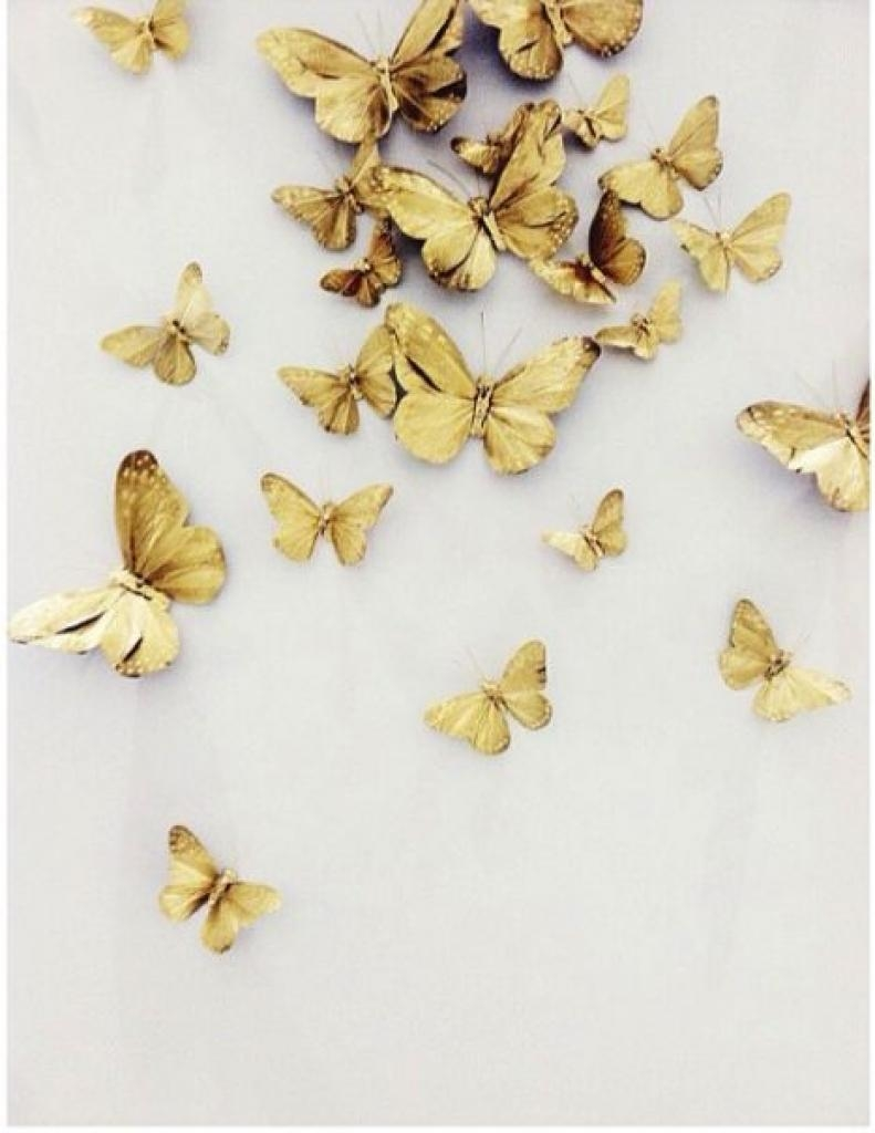 3D Butterfly Wall Art Butterfly Wall Decor Gold Mydreamdecors Gold In Ceramic Butterfly Wall Art (Image 3 of 20)