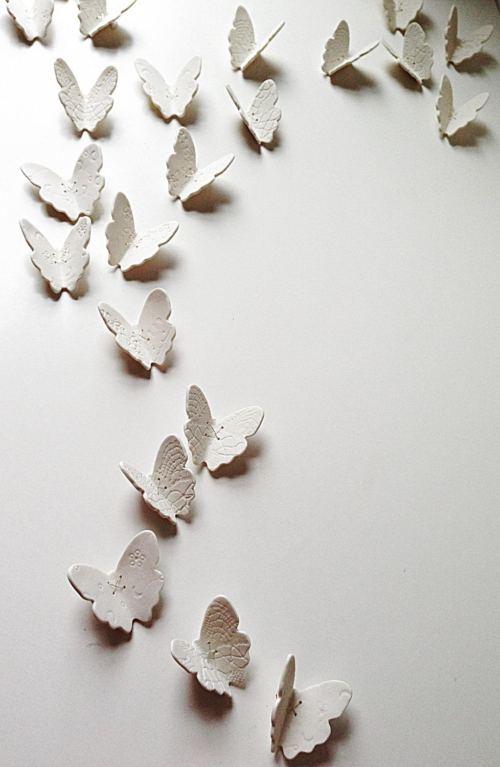 3D Butterfly Wall Art Large Wall Art Set 21 White Porcelain Pertaining To Ceramic Butterfly Wall Art (Image 4 of 20)