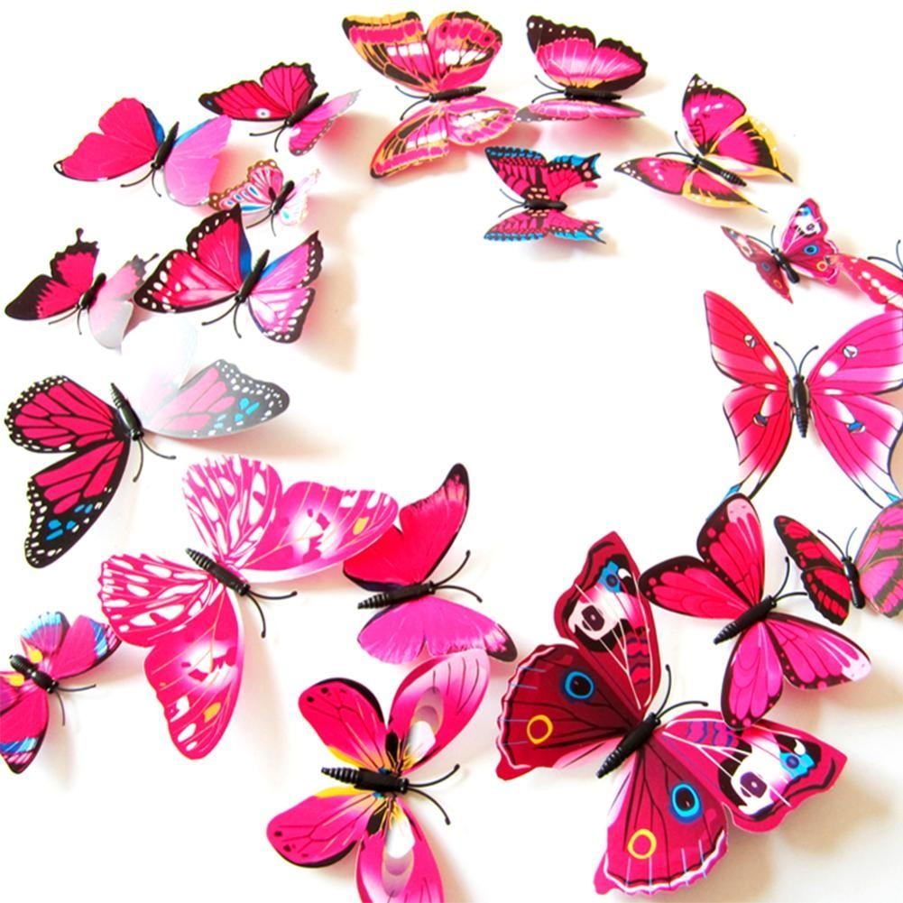3D Butterfly Wall Decor | Roselawnlutheran For Pink Butterfly Wall Art (Image 3 of 20)