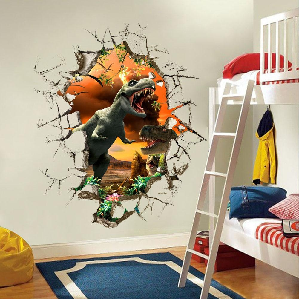 3D Dinosaur Wall Stickers Decals For Kids Rooms Art For Baby Inside Dinosaur Wall Art For Kids (Image 2 of 20)