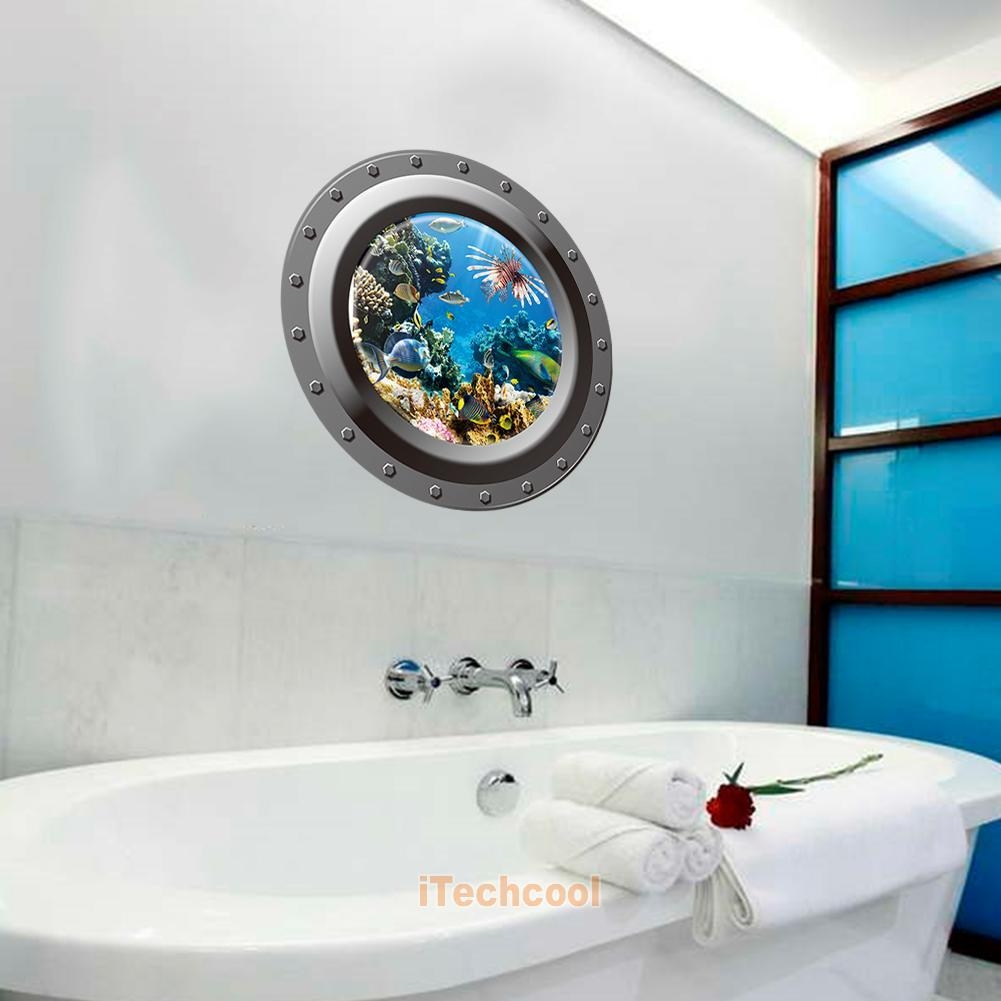 3D Fish Ocean Porthole Window Stickers Decals Bathroom Home Art Throughout Fish Decals For Bathroom (View 10 of 20)
