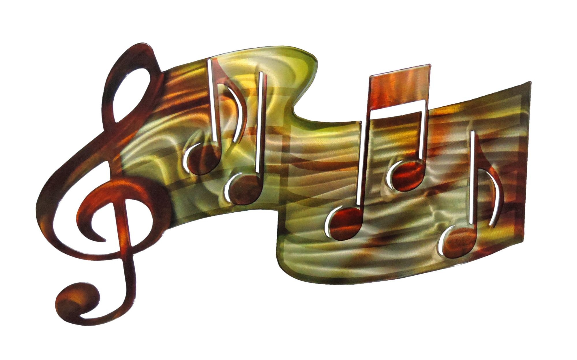 3D Music Staff – Musical Metal Wall Art Intended For Music Metal Wall Art (Image 1 of 20)
