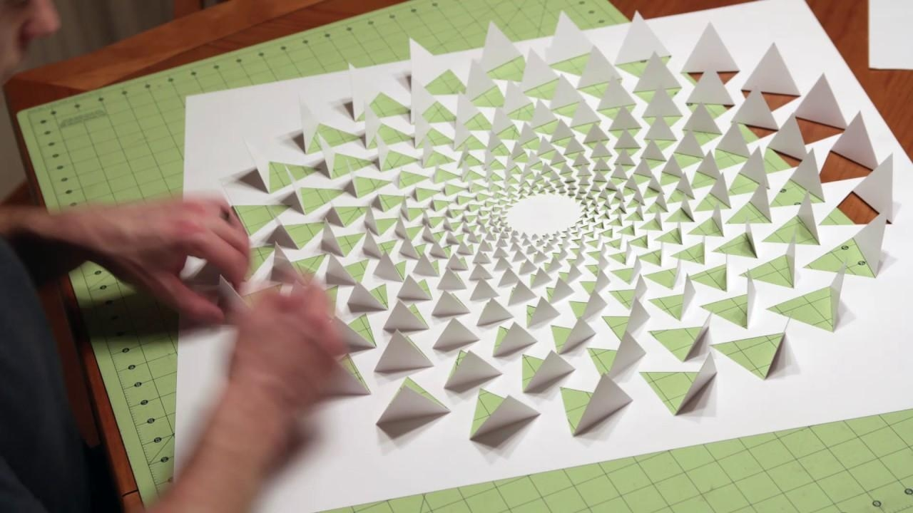 3D Optical Illusion Wall Art Made Using One Sheet Of Paper – Youtube For 3D Paper Wall Art (Image 1 of 20)