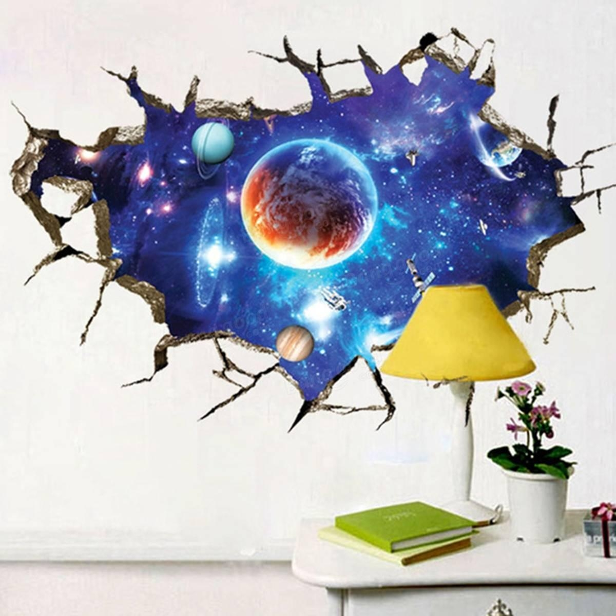 3D Outer Space Wall Stickers Home Decor Mural Art Removable Galaxy with regard to Outer Space Wall Art