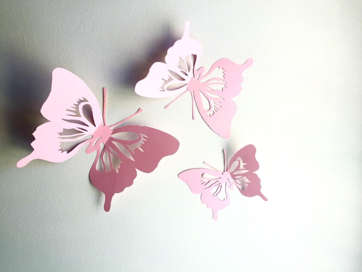 3D Paper Butterfly Wall Art Paper Wall Cut Out Butterfly Intended For 3D Paper Wall Art (Image 2 of 20)