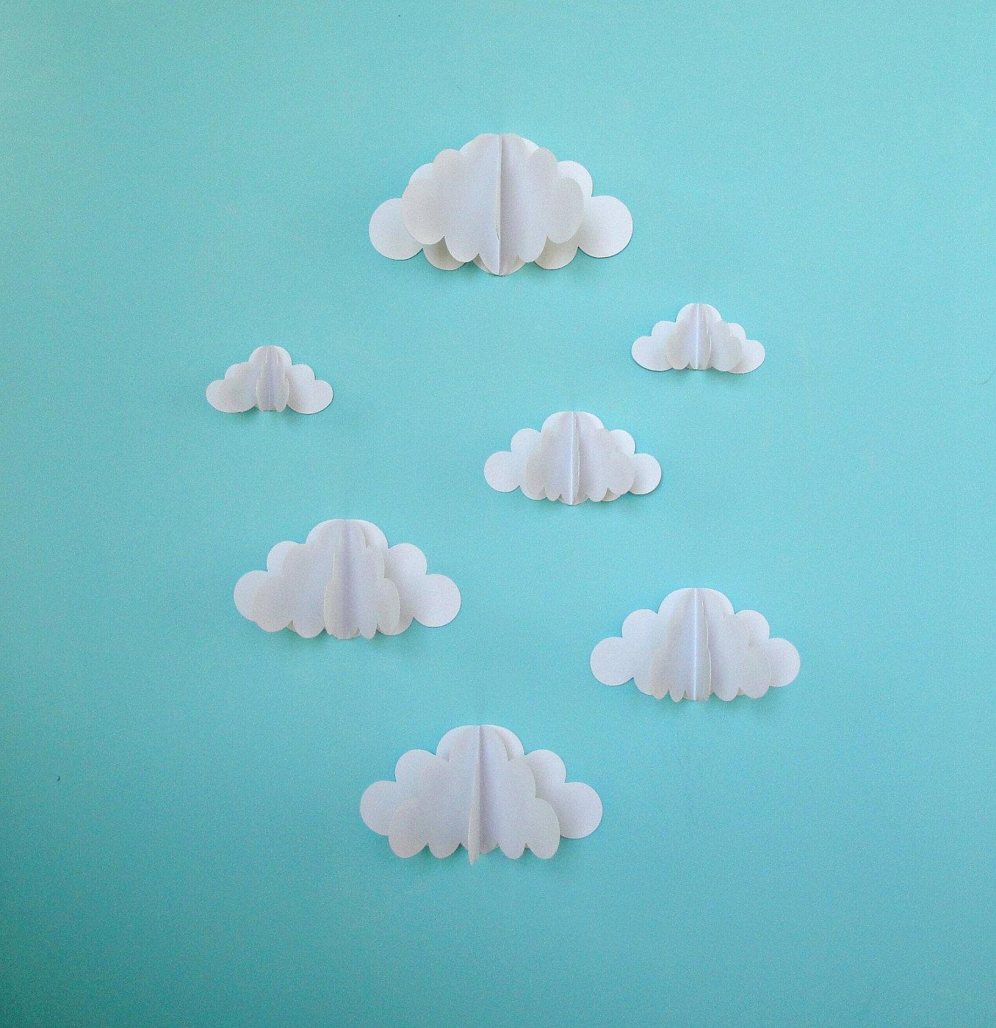 3D Paper Wall Clouds 3D Paper Wall Art/wall Decor/wall Throughout 3D Paper Wall Art (Image 4 of 20)
