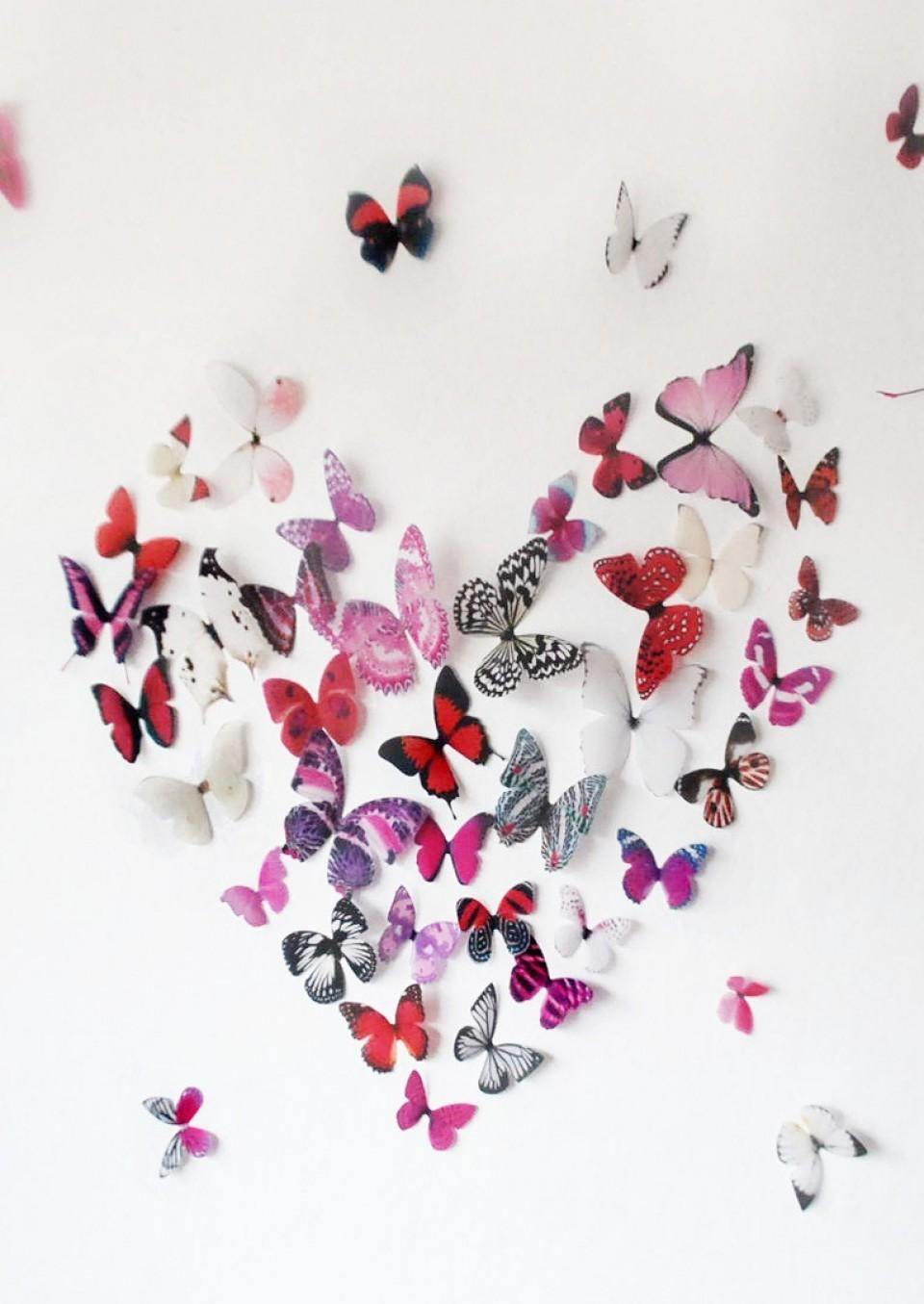 3D Pink Butterfly Wall Art Intended For Butterflies 3D Wall Art (Image 4 of  20