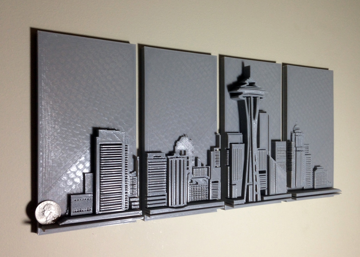 3D Printed Seattle Skyline Wall Art - 3D Printing Industry inside 3D Metal Wall Art
