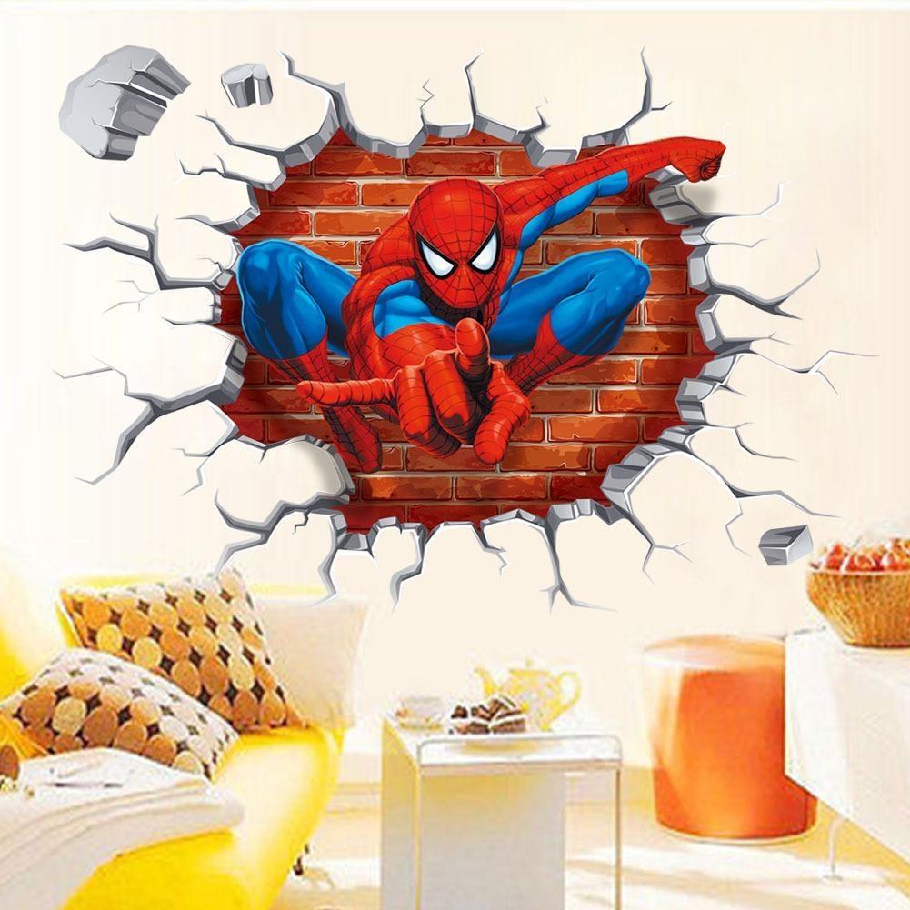 3D Spiderman Break Through The Wall Art Mural Decor Sticker Kids Inside Superhero Wall Art For Kids (Image 2 of 20)