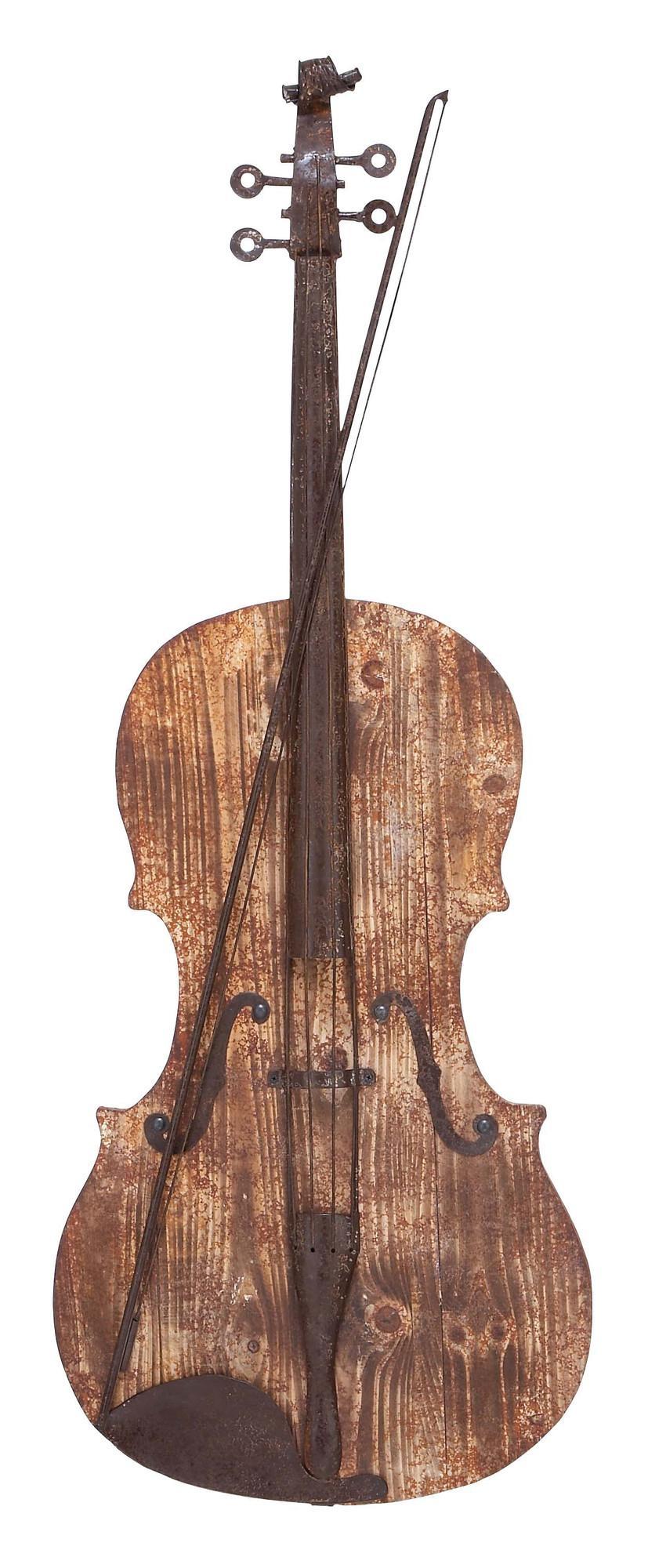 3D Violin - Musical Wood And Metal Wall Art regarding Guitar Metal Wall Art