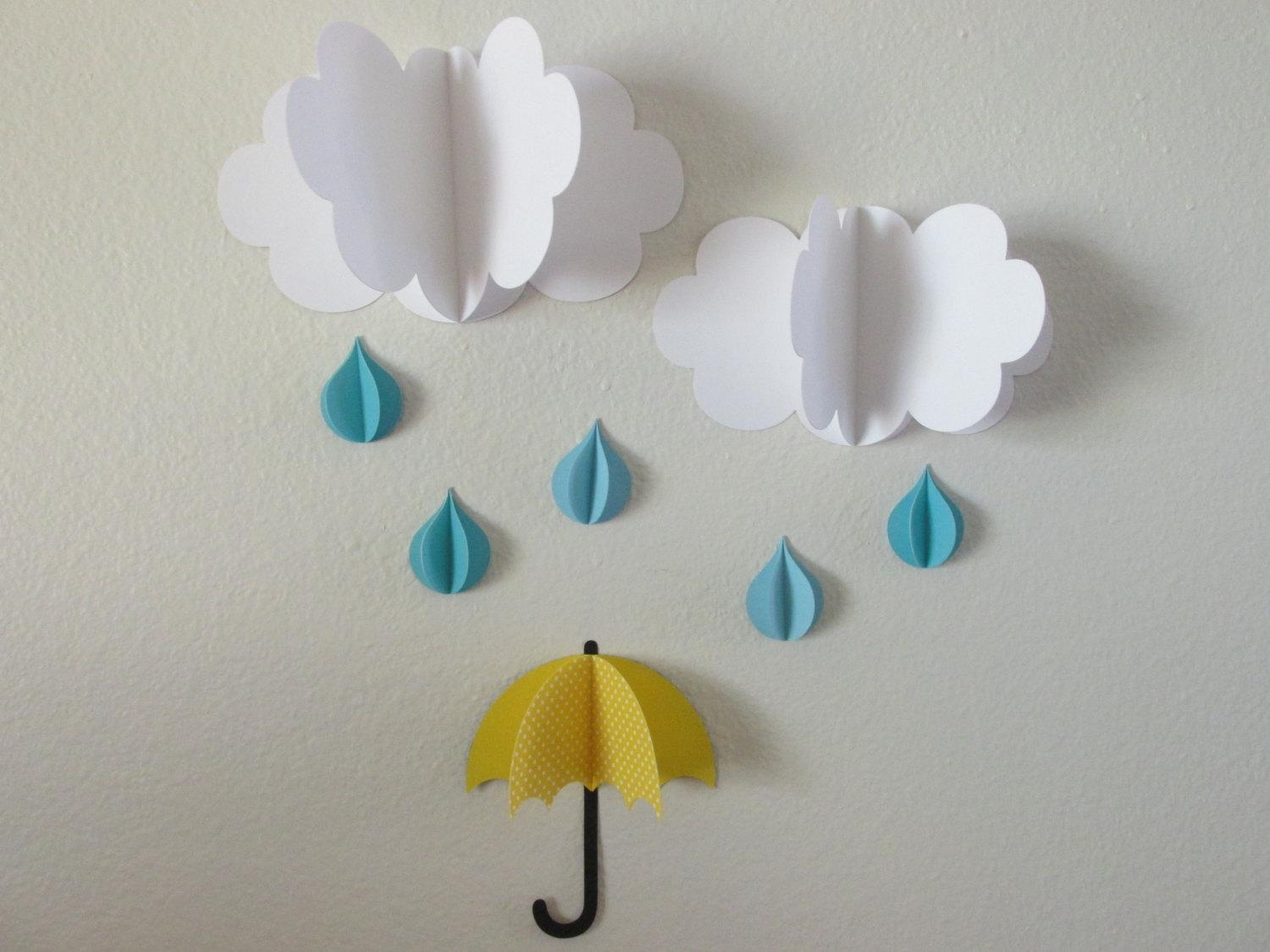 3D Wall Art 3D Baby Room Decoration Wall Art 3D Clouds With 3D Clouds Out Of Paper Wall Art (Image 5 of 20)