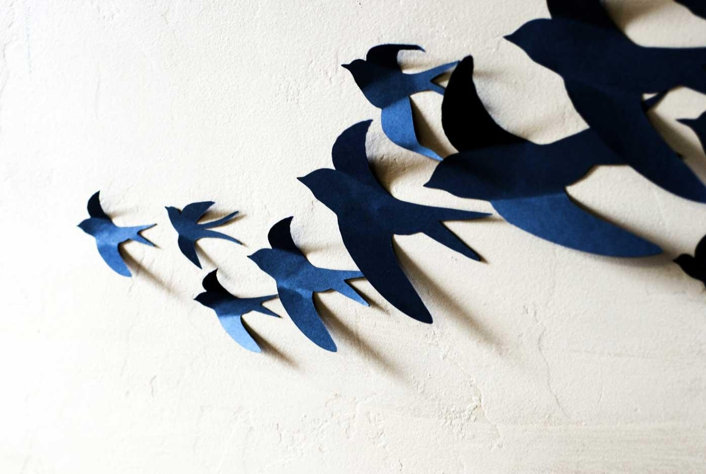 3D Wall Art Birds In Blue Color Ideas | Home Interior & Exterior Within Birds In Flight Metal Wall Art (View 10 of 20)
