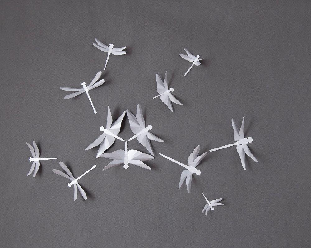 3D Wall Dragonflies Dragonfly Nursery Wall Art In Silver Intended For White 3D Wall Art (Image 6 of 20)