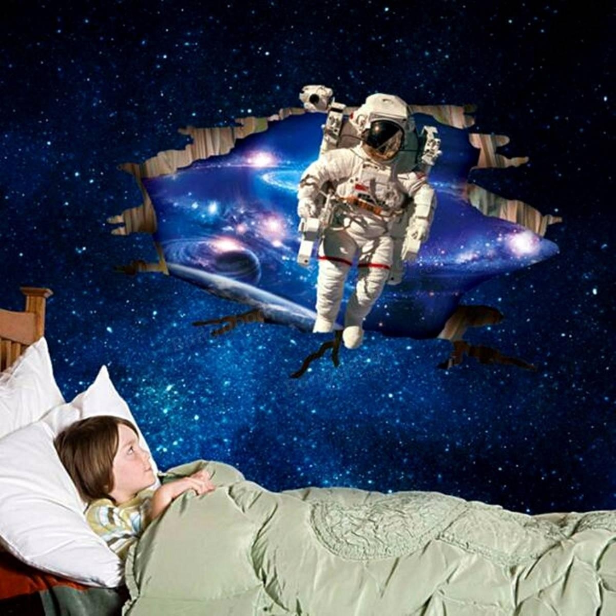 3D Wall Stickers Wallpaper Space Astronauts Decor Kids Room Decal Regarding Outer Space Wall Art (View 10 of 20)