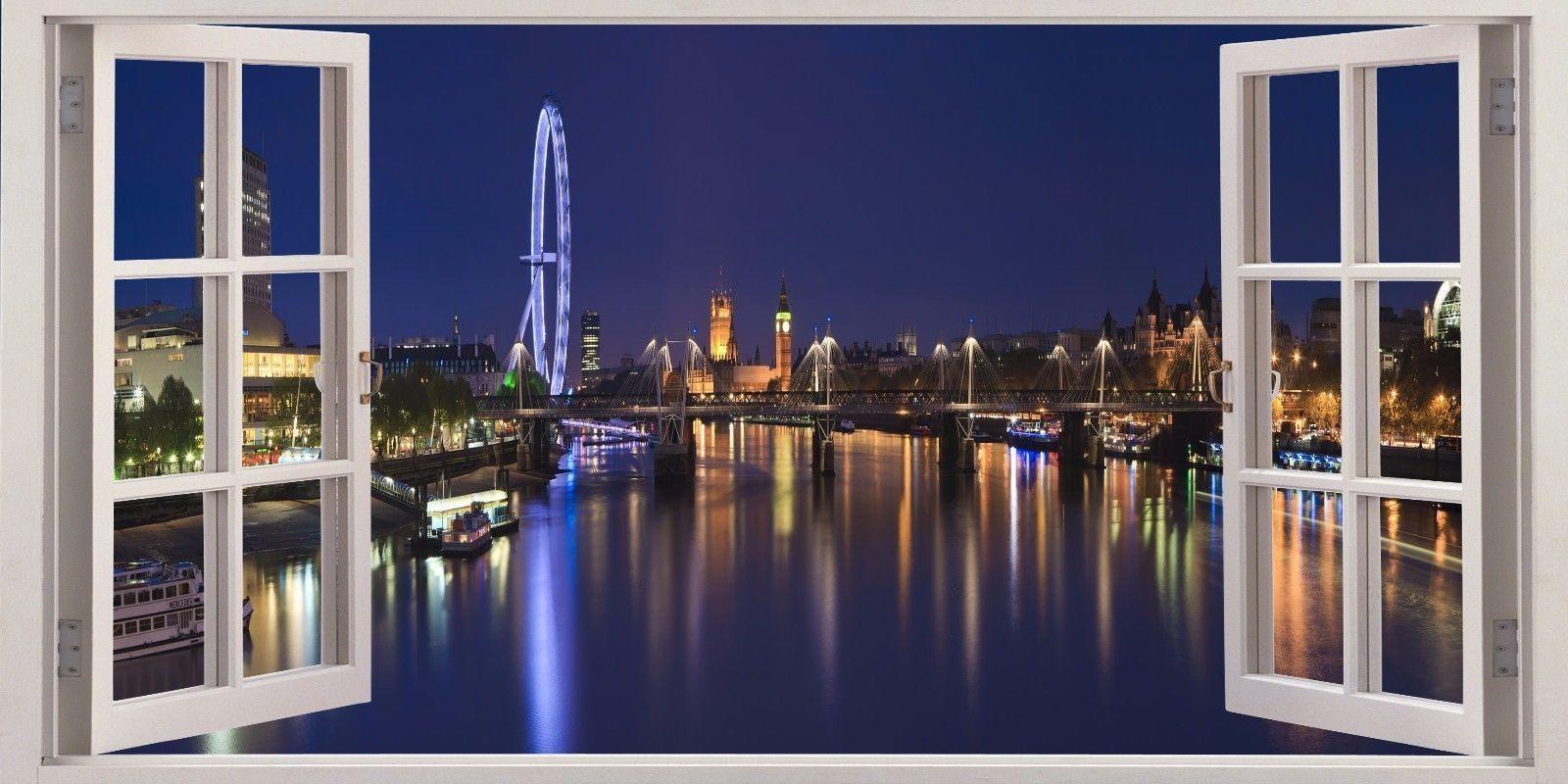 3D Window Effect On Canvas London Eye City Evening Scene Picture with regard to London Scene Wall Art
