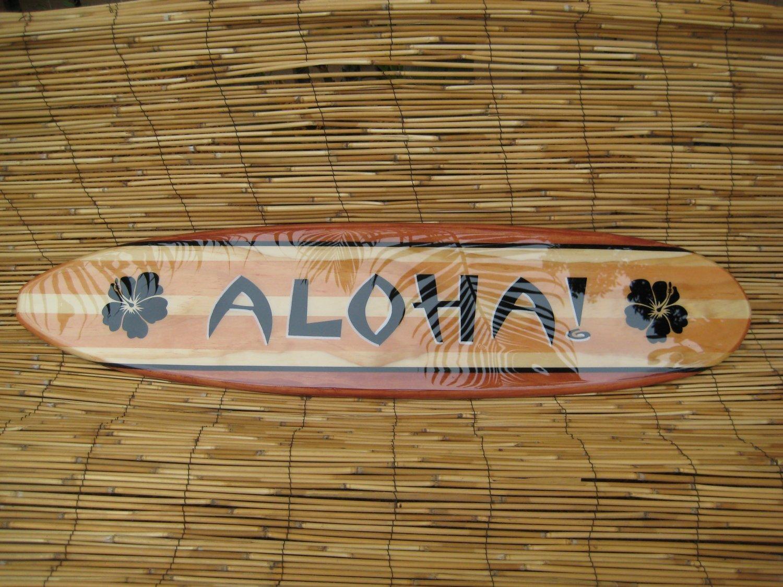 3Ft Decorative Hawaiian Aloha Surfboard Wall Arttiki Soul Intended For Decorative Surfboard Wall Art (Image 1 of 20)