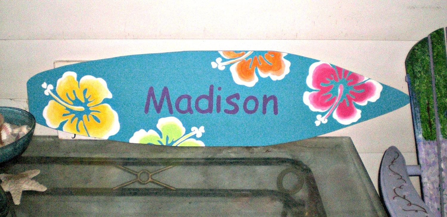 4 Foot Surfboard Wall Art Hawaiian Beach Decor Wall Hanging Within Hawaiian Wall Art (Image 1 of 20)