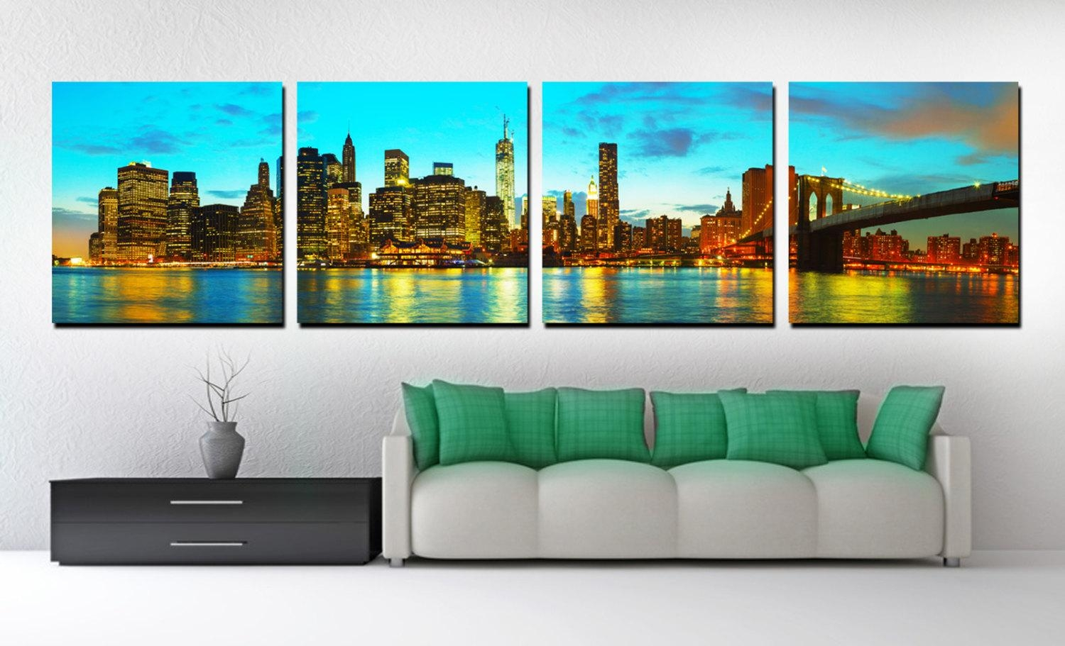 4 Panel Split New York Skyline Panoramic Canvas Print. Nyc with Cityscape Canvas Wall Art