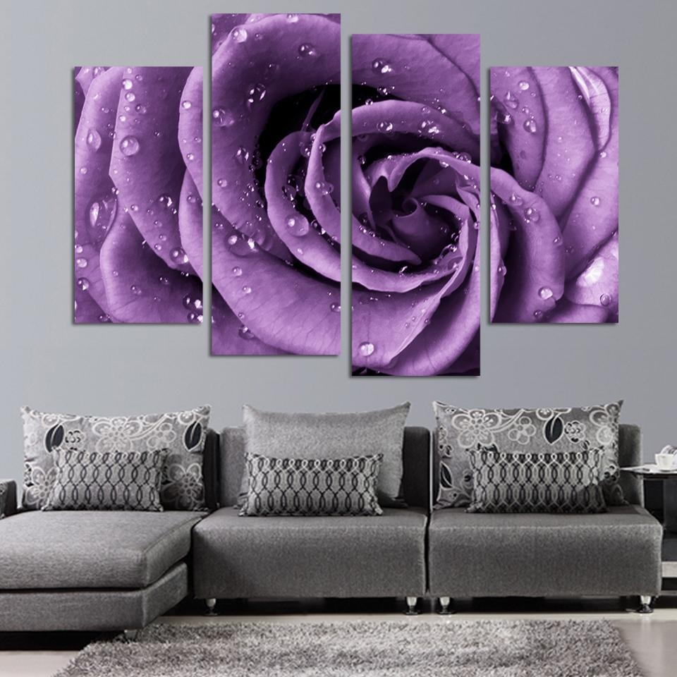 4 Panels Canvas Print Purple Rose Painting On Canvas Wall Art with Purple Wall Art