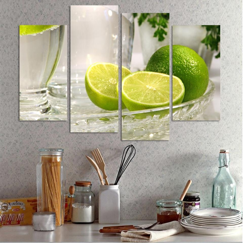 4 Panels Lemon Fruit Green Canvas Painting Modern Wall Paintings Inside Green Canvas Wall Art (View 20 of 20)
