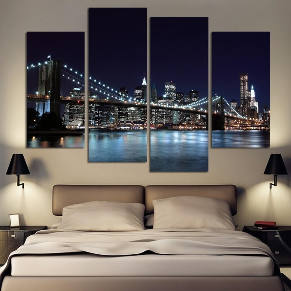 4 Piece Canvas Art Cities Promotion Shop For Promotional 4 Piece Inside 4 Piece Canvas Art Sets (View 13 of 20)