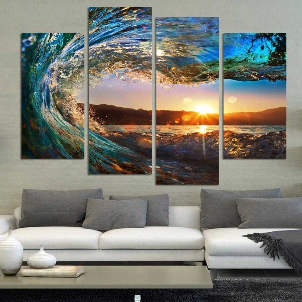 4 Pieces Modern Seascape Painting Canvas Art Hd Sea Wave Landscape with Canvas Landscape Wall Art