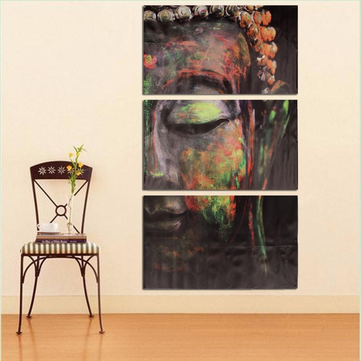 40X60Cm Buddha Statues Triple Frameless Canvas Prints Oil Painting Within Oil Painting Wall Art On Canvas (View 15 of 20)