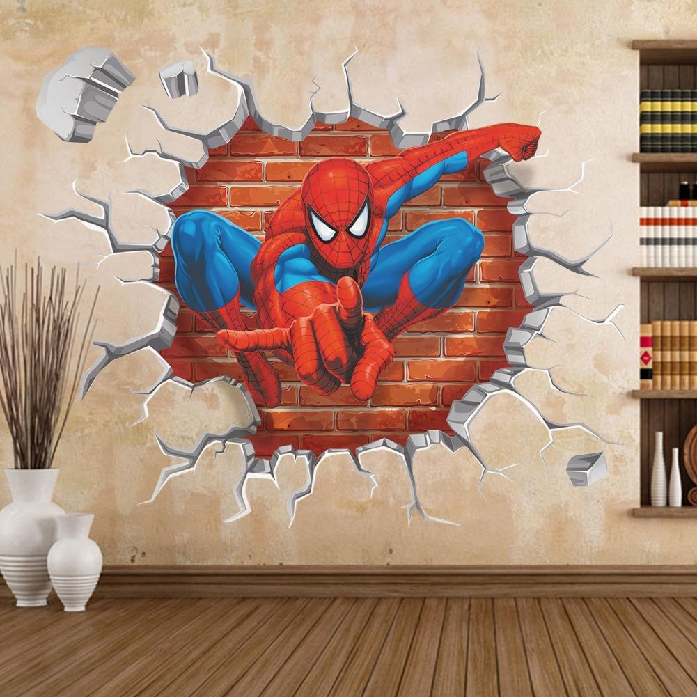 45*60 3D Cartoon Spiderman Wall Stickers Removable Pvc Home Decals for 3D Wall Art