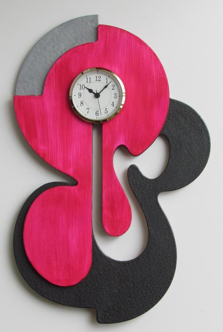 476 Best Wall Clock Images On Pinterest | Wall Clocks, Clock Wall With Abstract Wall Art With Clock (Image 1 of 20)