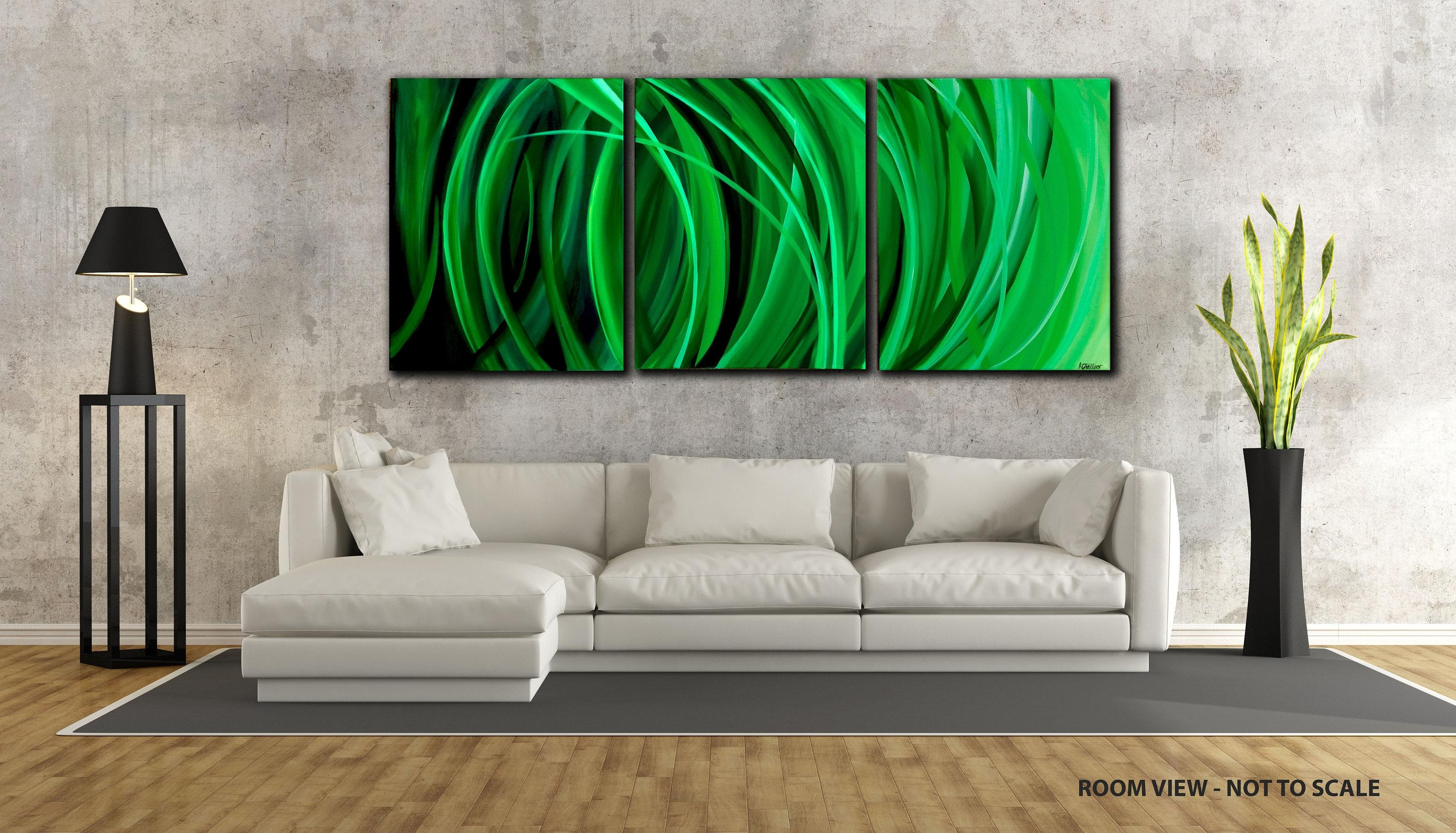 48 Large, Original Abstract Painting, Canvas, Wall Art, Modern inside Large Green Wall Art