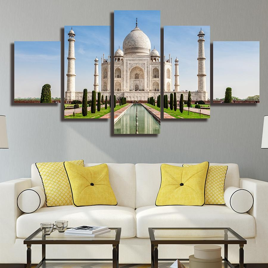 5 Panels The Taj Mahal In India Home Decor Wall Art Canvas Animal Inside Taj Mahal Wall Art (View 15 of 20)