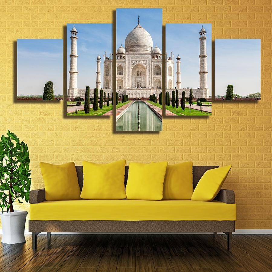 5 Panels The Taj Mahal In India Home Decor Wall Art Canvas Animal Pertaining To Taj Mahal Wall Art (View 4 of 20)