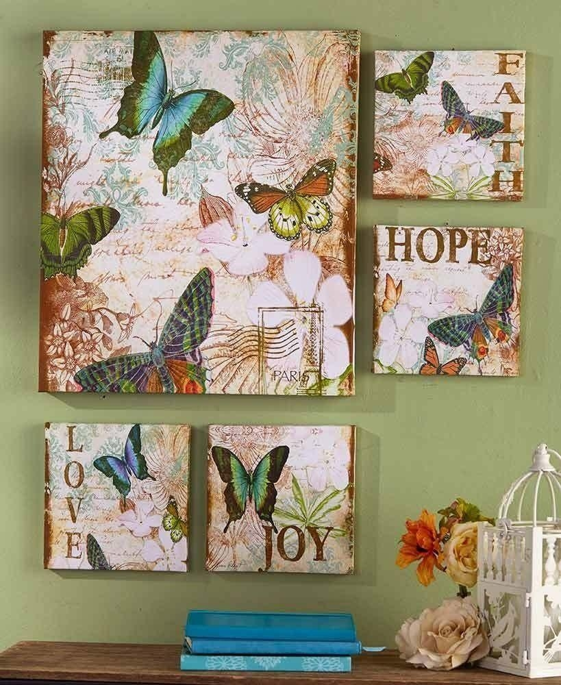 5 Pc Canvas Wall Art Set Butterfly Butterflies Faith Hope Love Joy With Butterfly Canvas Wall Art (Image 1 of 20)