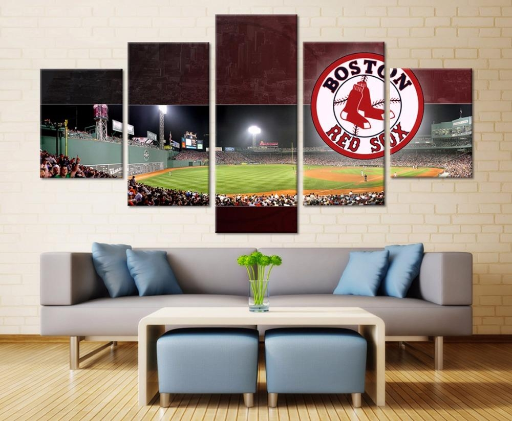 5 Piece Boston Red Sox Daseball Team Poster Cuadros Landscape Pertaining To Red Sox Wall Art (Image 1 of 20)