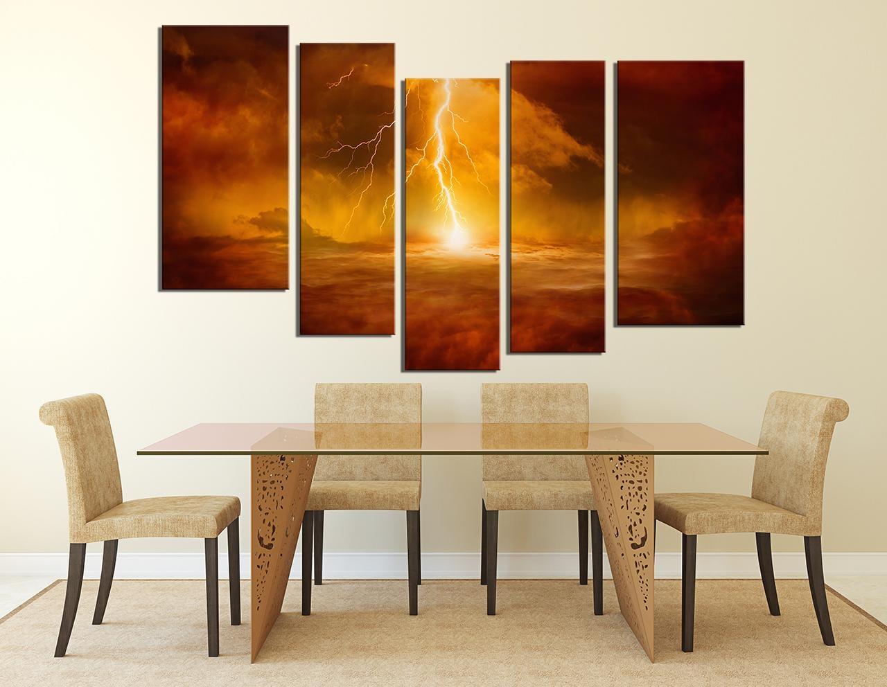 5 Piece Canvas Wall Art, Thunderstorm Huge Canvas Art, Abstract Within 7 Piece Canvas Wall Art (Image 2 of 22)